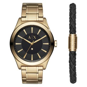 Armani Exchange Nico Men's Gold Plated Watch & Bracelet Set - Product number 1066137