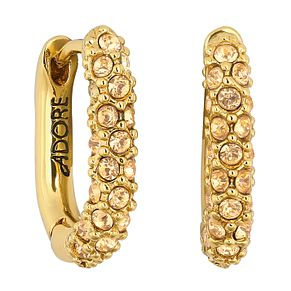 Adore Ladies' Yellow Gold Plated Lozenge Pave Hoop Earrings - Product number 1075071