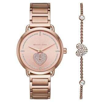 Michael Kors Portia Pavé Rose Gold Tone Watch & Bracelet Set - Product number 1075470