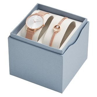 Skagen Ladies Rose Gold Watch & Bracelet Set - Product number 1082167