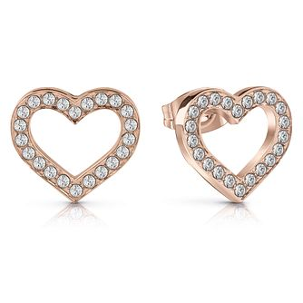 Guess Rose Gold Plated Heart Crystal Stud Earrings - Product number 1082221