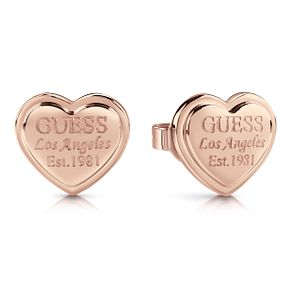 Guess Rose Gold Plated Heart Shaped Stud Earrings - Product number 1082264