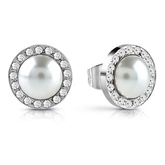 Guess Rhodium Plated Pearl Crystal Stud Earrings - Product number 1082361