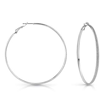 Guess Rhodium Plated 62mm Glitter Hoop Earrings - Product number 1082396