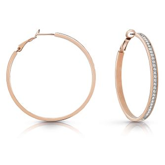 Guess Rose Gold Plated 50mm Crystal Hoop Earrings - Product number 1082485