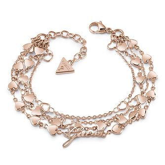 Guess Rose Gold Plated Multi Heart Chain Bracelet - Product number 1082515