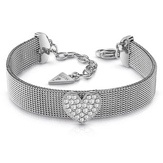 Guess Rhodium Plated Crystal Heart Mesh Bracelet - Product number 1082558