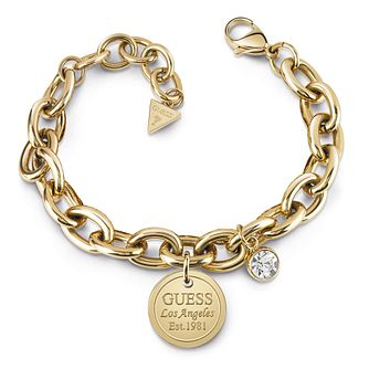 Guess Gold Plated Crystal Coin Charm Bracelet - Product number 1082698