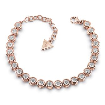 Guess Rose Gold Plated Crystal Tennis Bracelet - Product number 1082817