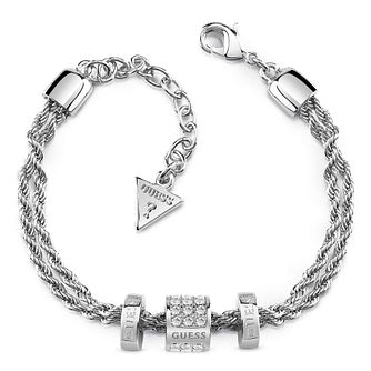Guess Rhodium 3 Bead Aurora Crystal Bracelet - Product number 1082892