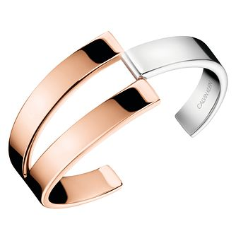 Calvin Klein Silver & Rose Gold Plated Open Bangle - Product number 1083805