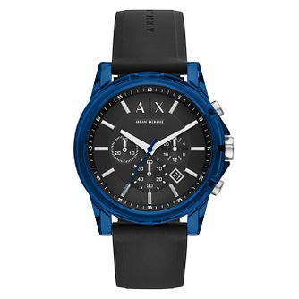 Armani Exchange Outerbanks Men's Black Silicone Strap Watch - Product number 1093045