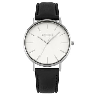 Missguided Ladies' Silver Tone Black PU Strap Watch - Product number 1098292