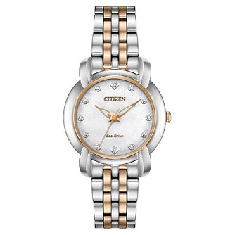 Citizen Ladies' Diamond Two-Tone Eco-Drive Bracelet Watch - Product number 1098470
