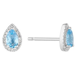 9ct White Gold Pear Cut Blue Topaz & Diamond Halo Earrings - Product number 1098748