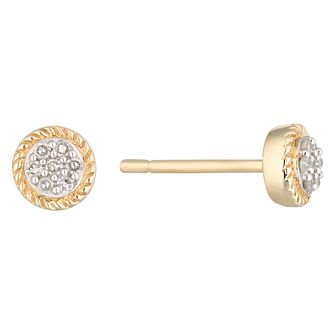 9ct Yellow Gold Diamond Cluster Rope Edge Round Earrings - Product number 1098772