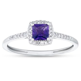 9ct White Gold Cushion Cut Amethyst & 1/10ct Diamond Ring - Product number 1099795