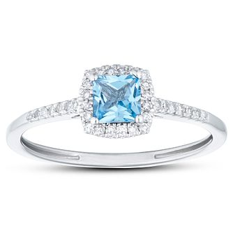 9ct White Gold Cushion Cut Blue Topaz & 1/10ct Diamond Ring - Product number 1099930