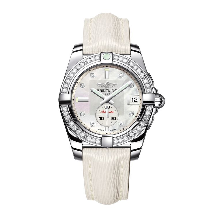 Breitling Galactic 36 Ladies' White Leather Strap Watch - Product number 1107712