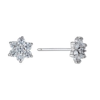 9ct White Gold Cubic Zirconia Flower Stud Earrings - Product number 1109545