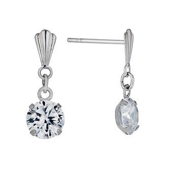 9ct White Gold 5mm Cubic Zirconia Drop Earrings - Product number 1109642