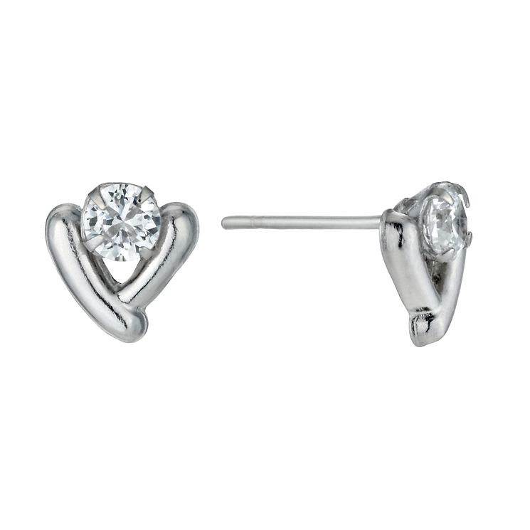 9ct White Gold V-Shaped Cubic Zirconia Stud Earrings - Product number 1109669