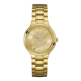 Guess Ladies' Gold Tone Cubic Zirconia Bracelet Watch - Product number 1111620