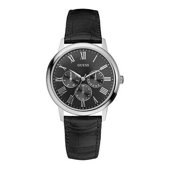 Guess Men's Black Dial Black Leather Strap Watch - Product number 1111655
