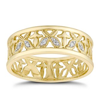 9ct Yellow Gold Butterfly Diamond Eternity Ring - Product number 1117440