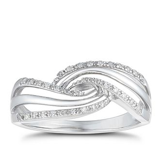 9ct White Gold 1/10ct Twist Crossover Eternity Ring - Product number 1117572