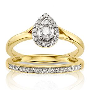 9ct Yellow Gold 1/4ct Diamond Pear Bridal Set - Product number 1117718