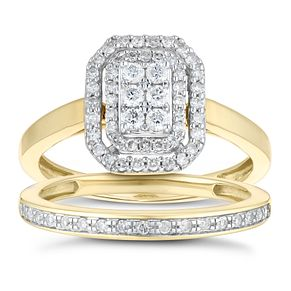 9ct Yellow Gold 2/5ct Diamond Rectangle Bridal Set - Product number 1118005