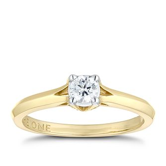 The One 9ct Yellow Gold 1/4ct Solitaire Diamond Ring - Product number 1119117