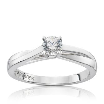 18ct White Gold 1/3ct Forever Diamond Solitaire Ring - Product number 1119427