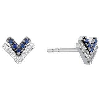 Vera Wang Silver, Sapphire & Diamond Chevron Stud Earrings - Product number 1121081