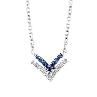 Vera Wang Silver, Sapphire & Diamond Chevron Pendant - Product number 1121146