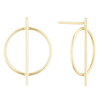 9ct Yellow Gold Open Circle Bar Stud Earrings - Product number 1121618