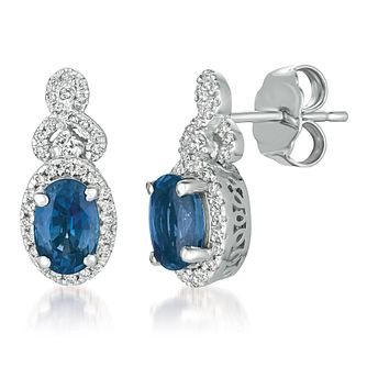 Le Vian 14ct White Gold Sapphire Diamond Earrings - Product number 1124943