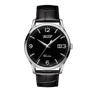 Tissot Visodate Men's Black Leather Strap Watch - Product number 1125192