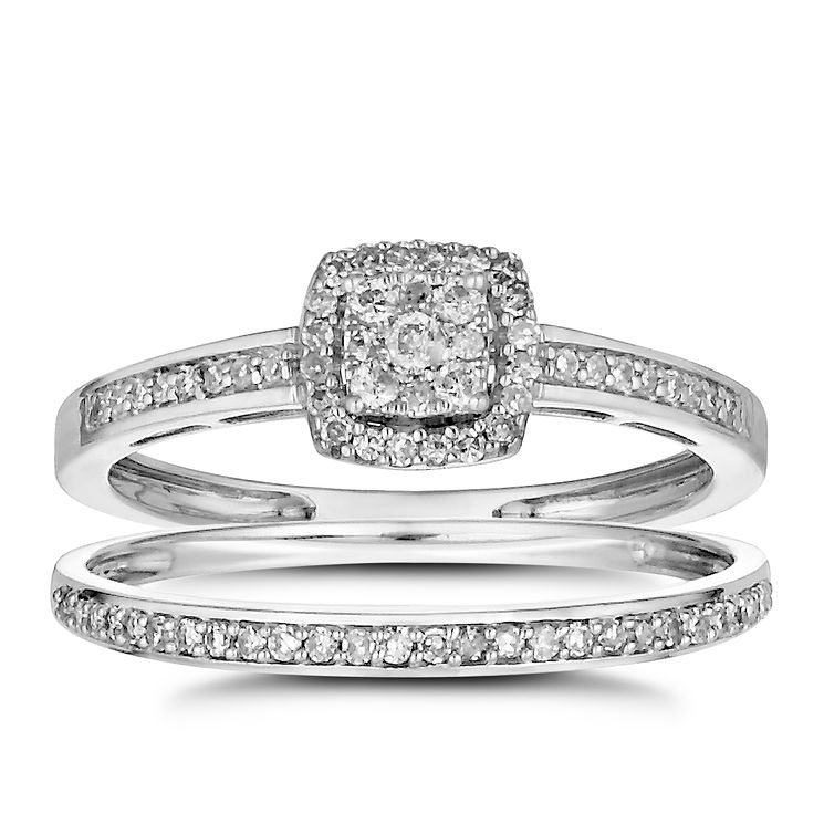 Shopping Product  Q White Gold Engagement Wedding Rings Sets