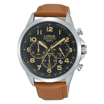 Lorus Men's Chronograph Tan Leather Strap Watch - Product number 1127020