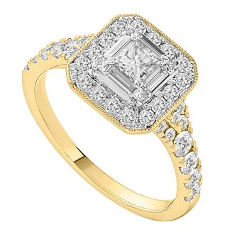 18ct Yellow Gold One Carat Princess Cut Diamond Ring - Product number 1129120