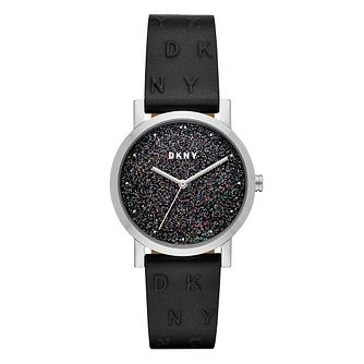 DKNY Soho Ladies' Sparkle Black Leather Strap Watch - Product number 1138677