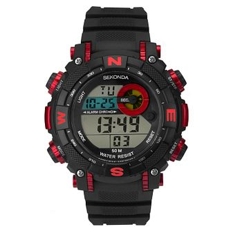 Sekonda Men's Digital Black Resin Strap Watch - Product number 1141414