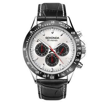 Sekonda Men's Black Leather Strap Watch - Product number 1141465
