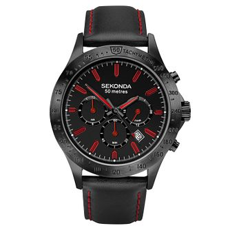 Sekonda Men's Black Leather Strap Watch - Product number 1141503