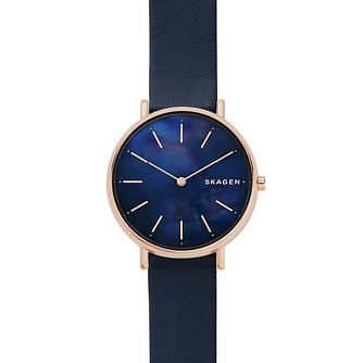 Skagen Signatur Slim Ladies' Blue Leather Strap Watch - Product number 1142356