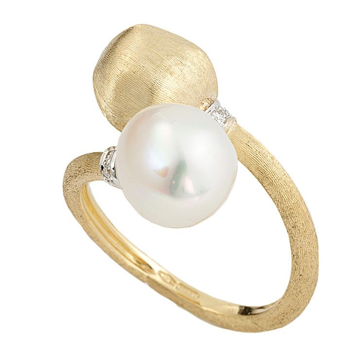 Marco Bicego Africa 18ct yellow gold pearl diamond ring - Product number 1142933