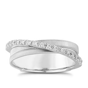 Marco Bicego Goa 18ct white gold 3 row 13 point diamond ring - Product number 1143204
