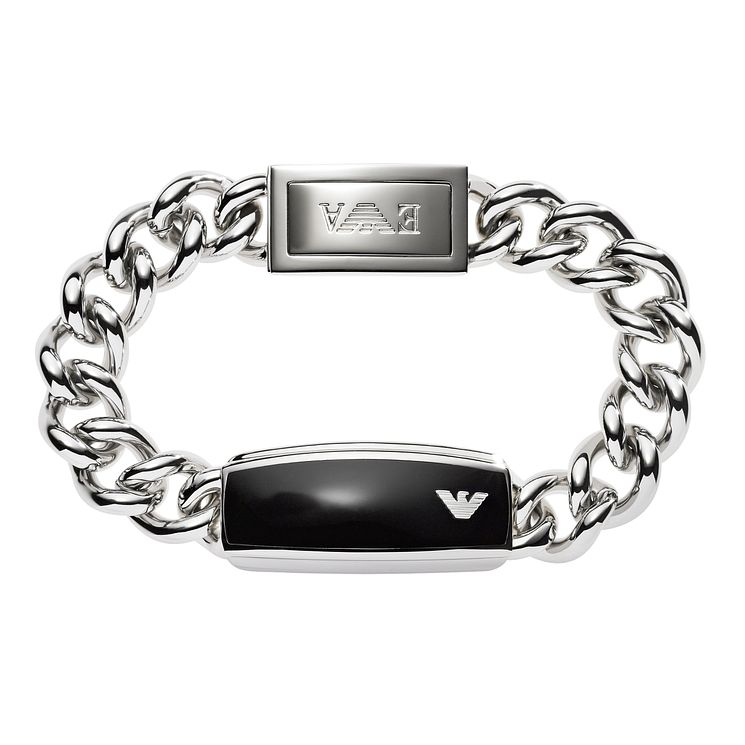 Emporio Armani Men's Steel Black Enamel Id Bracelet - Product number 1149423